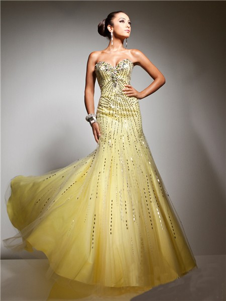 Unusual Mermaid Sweetheart Long Yellow Tulle Sequins