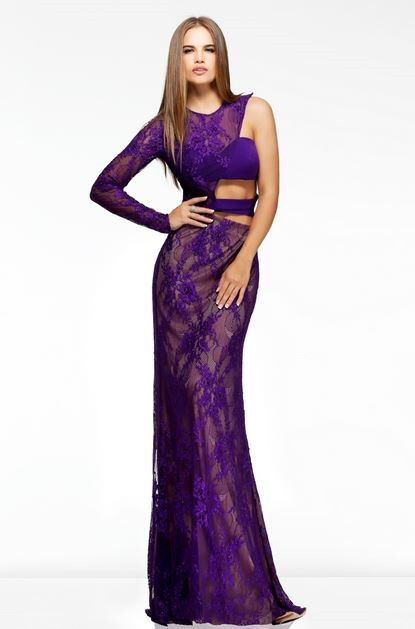 Unusual Sexy Slim One Sleeve Side Cut Out Long Purple Lace