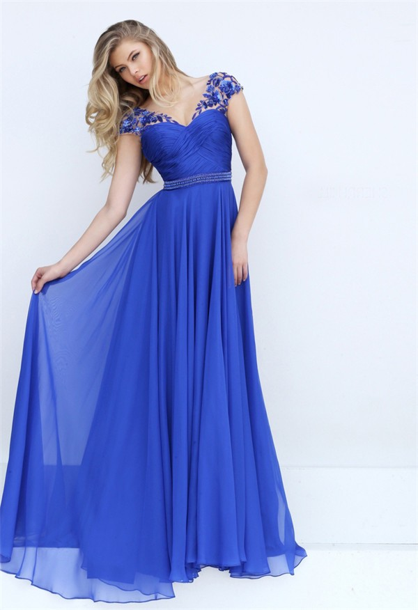 V Neck Cap Sleeve Open Back Long Royal Blue Chiffon