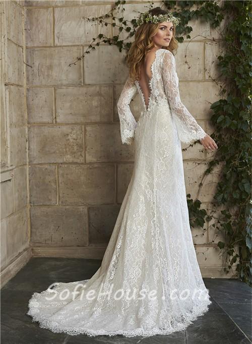 Vintage Mermaid Scalloped Neck Low Back Long Sleeve Lace Wedding Dress