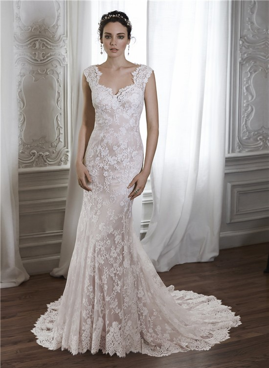 lace wedding dresses with cap sleeves vintage mermaid scalloped neckline sheer back cap sleeve 5378
