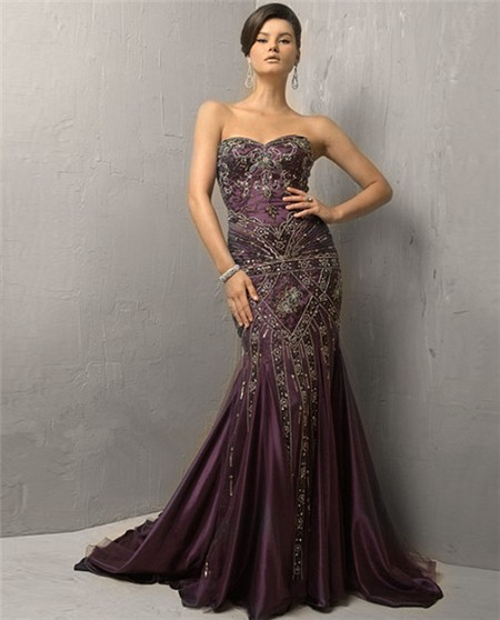 Vintage Mermaid Strapless Long Purple Silk Beading Evening