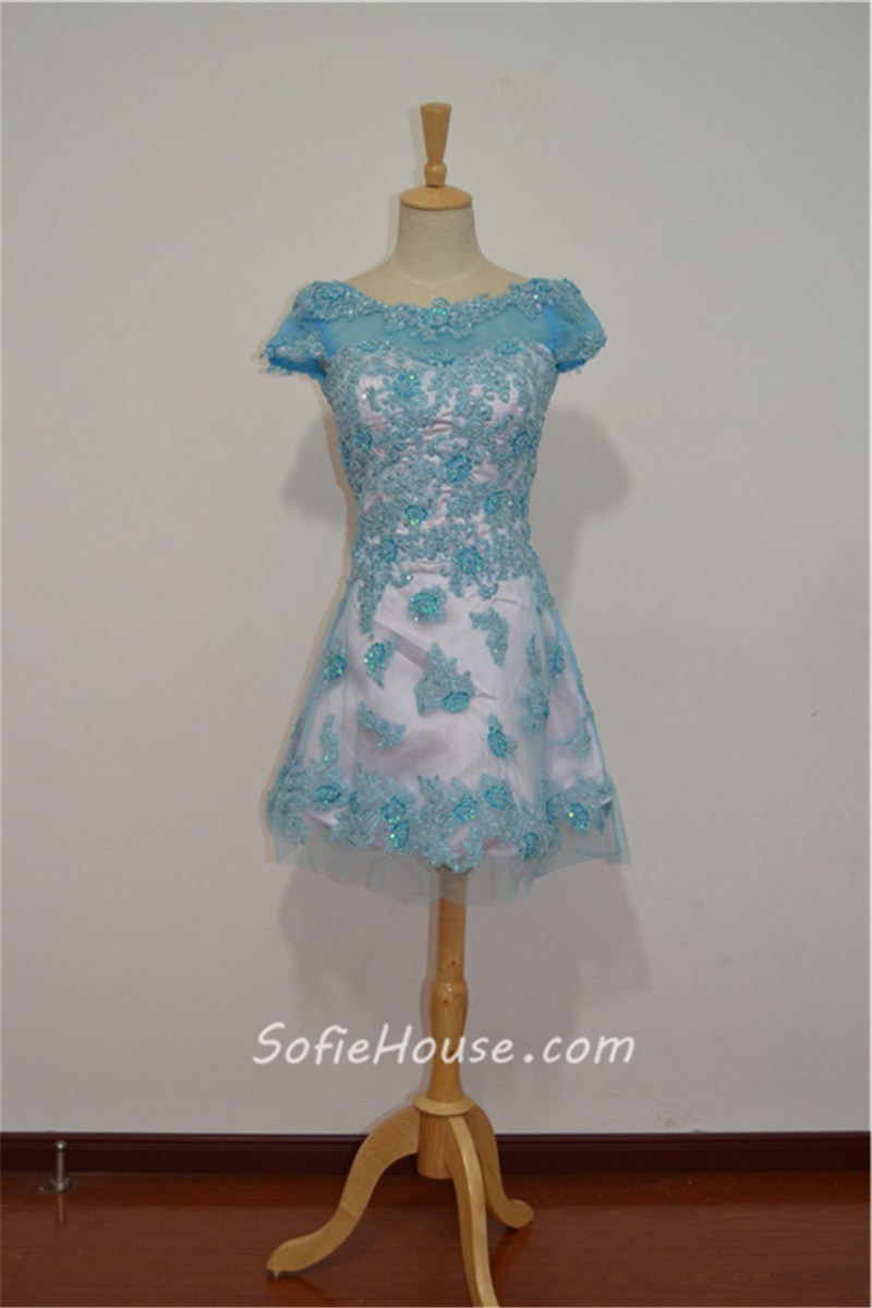 A Line Bateau Neck Short Sleeve Mini Pink Tulle Blue Lace