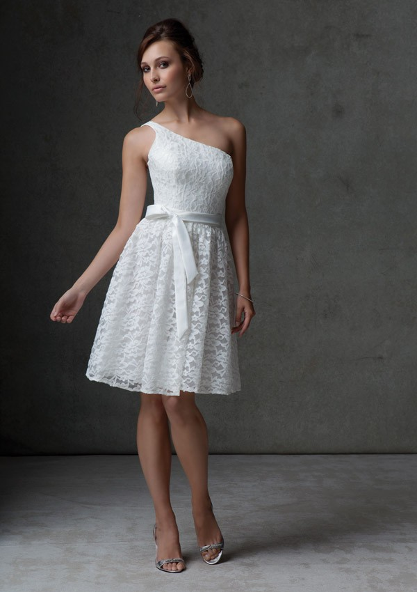A Line One Shoulder Knee Length White Lace Bridesmaid