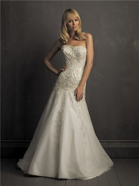 A Line Strapless Satin Organza Wedding Dress With