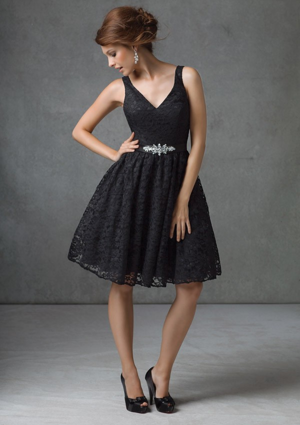 A Line V Neck Knee Length Black Lace Bridesmaid Dress With