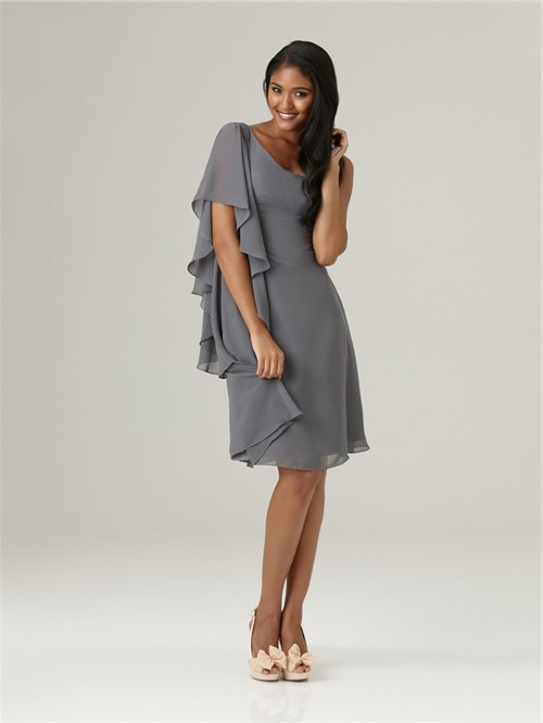 Elegant Asymmetrical One Sleeve Short Grey Chiffon