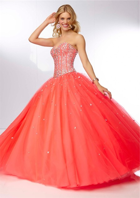 Ball Gown Strapless Sweetheart Corset Back Coral Tulle