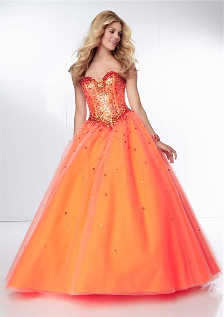 Ball Gown Sweetheart Long Orange Tulle Beaded Sparkly Prom