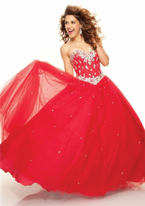Ball Gown Sweetheart Floor Length Red Tulle Prom Dress