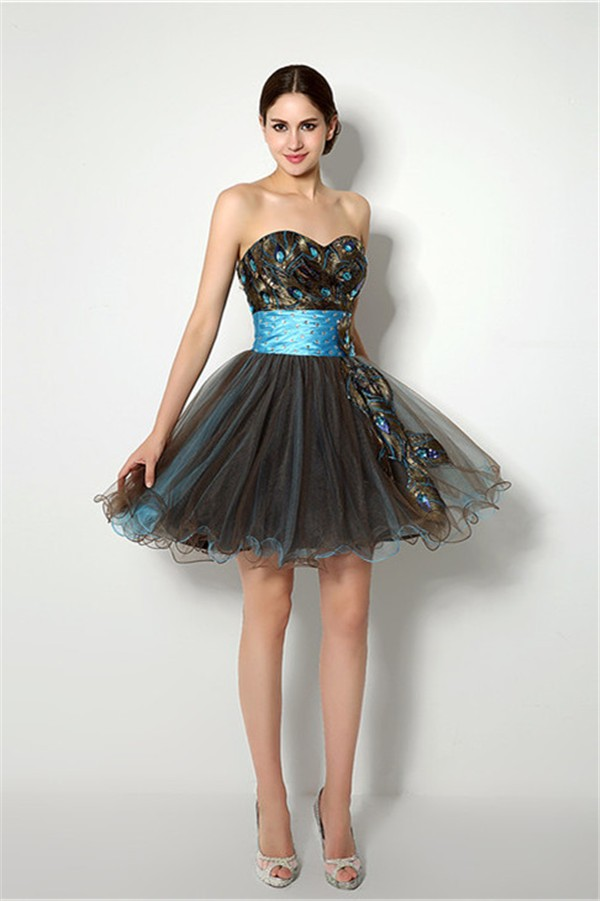 Ball Strapless Short Brown And Blue Tulle Peacock Applique