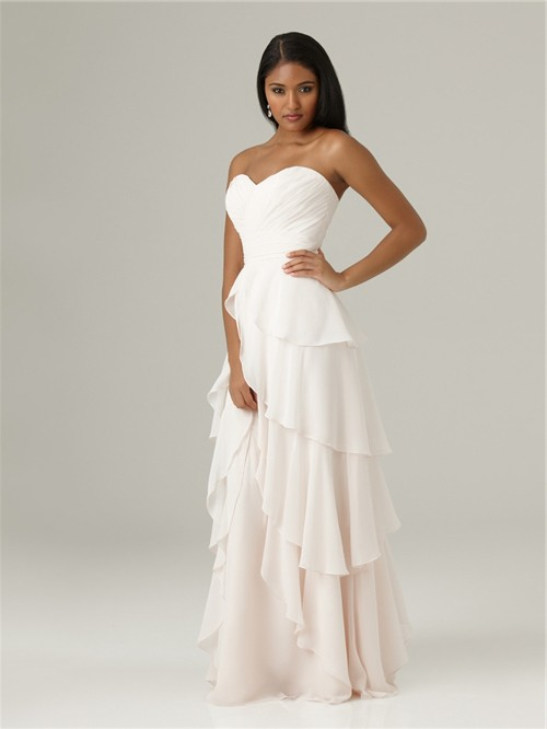 Elegant Sweetheart Floor Length Long White Chiffon