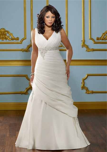 A Line V Neck Empire Waist Ruched Satin Plus Size Wedding ...
