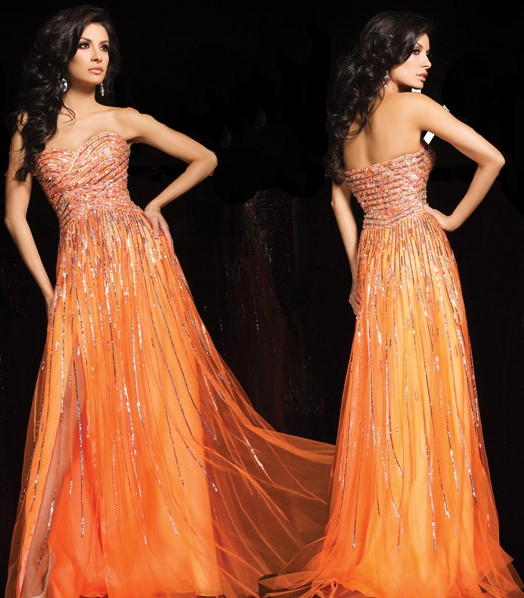 A Line Sweetheart Long Orange Tulle Sparkly Sequin Beaded