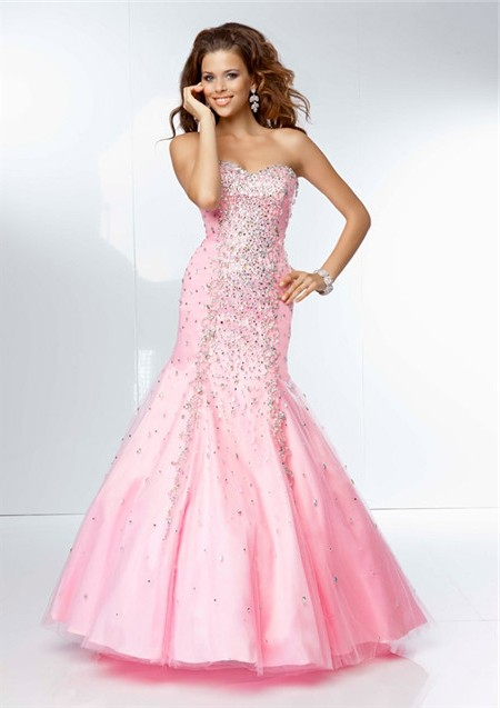 Mermaid Sweetheart Neckline Long Pink Tulle Beaded Prom