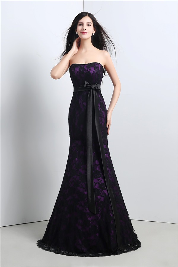 Mermaid Strapless Corset Purple Satin Black Lace Evening