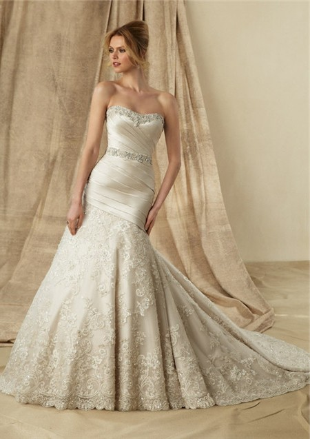 Mermaid Strapless Sweetheart Ruched Satin Lace Wedding