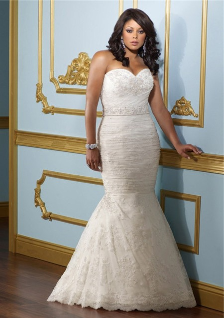 Mermaid Trumpet Sweetheart Corset Back Lace Ruched Plus Size ...