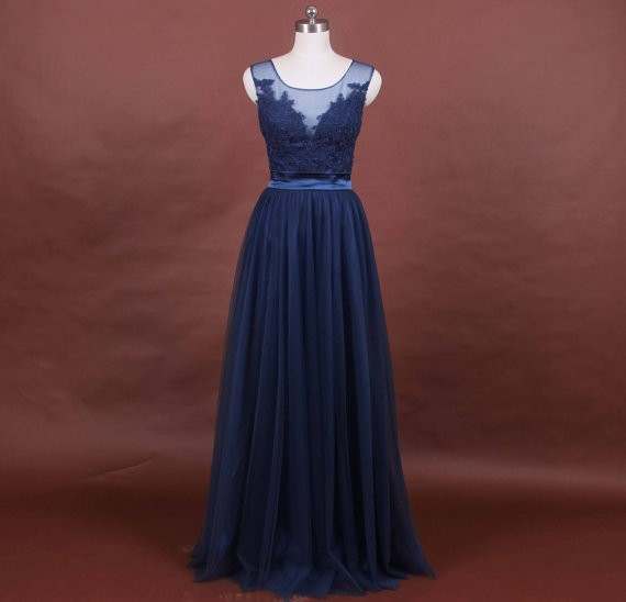 Sexy A Line Illusion Neckline Navy Blue Tulle Lace Mother