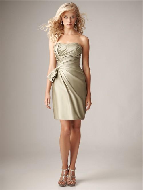 Sheath Column Sweetheart Mini Short Silk Bridesmaid Dress