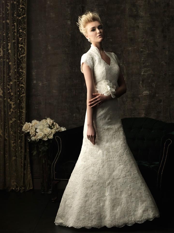 Trumpet Mermaid Full Back Short Sleeve Lace Modest Wedding
