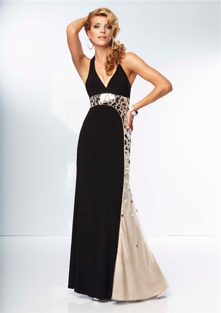 Unique Sheath Halter Backless Long Champagne Nude Black