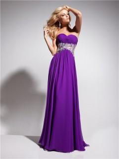 A Line Princess Sweetheart Empire Long Purple Chiffon Evening Prom Dress With Beading