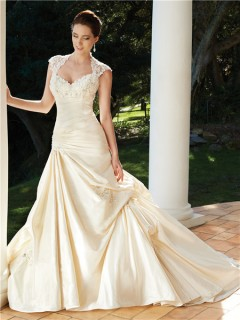 A line cap sleeve chapel train backless champagne wedding dress