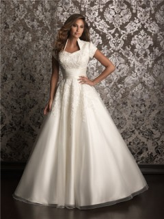 A line square chapel train modest wedding dress with short sleeves
