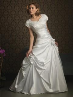 A line sweetheart cap sleeve taffeta wedding dress