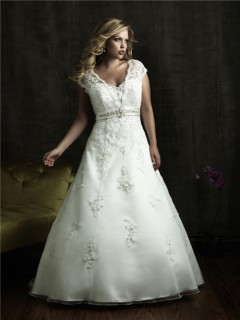 A line v neck court train modest designer lace plus size wedding dresses with beading