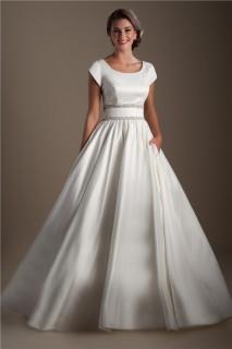Ball Gown Scoop Neck Cap Sleeve Satin Beaded Modest Wedding Dress