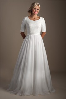Classic A Line Short Sleeve Lace Chiffon Modest Wedding Dress With Sash