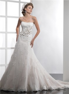 Elegant Couture Mermaid Strapless Lace Wedding Dress With Flowers Sash Crystals