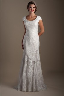 Elegant Mermaid Scoop Neck Cap Sleeve Lace Modest Wedding Dress