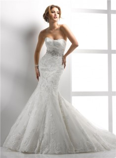 Modern Mermaid Sweetheart Lace Wedding Dress With Sequins Crystal Belt