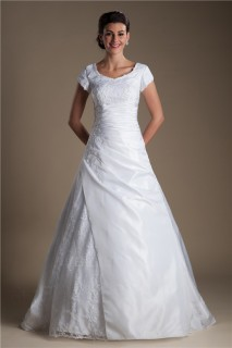 Modest A Line Cap Sleeve Corset Back Ruched Taffeta Lace Wedding Dress