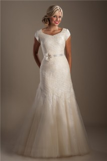 Modest Mermaid Cap Sleeve Champagne Tulle Ruched Wedding Dress With Sash