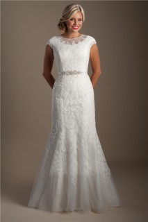 Modest Mermaid High Neck Cap Sleeve Lace Applique Wedding Dress With Sash