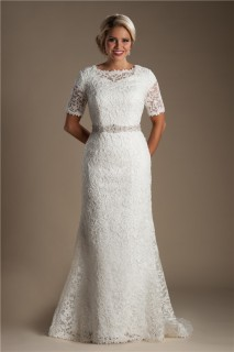 Modest Mermaid Short Sleeve Venice Lace Wedding Dress With Crystals Belt