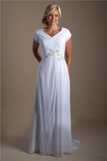 Modest Sheath V Neck Cap Sleeve Chiffon Beaded Beach Wedding Dress