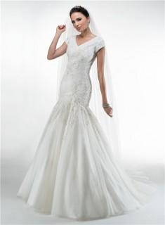 Modest Trumpet Mermaid V Neck Short Sleeve Tulle Applique Wedding Dress
