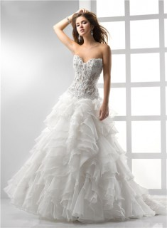 Sexy A Line Princess Sweetheart See Through Corset Wedding Dress With Lace Ruffles Beading