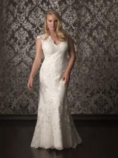 Elegant mermaid cap sleeve keyhole back sweep train lace plus size wedding dress