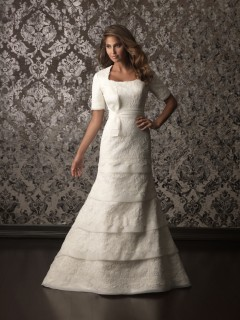 Trumpet Mermaid square neck tiered lace modest wedding dress with short sleeves