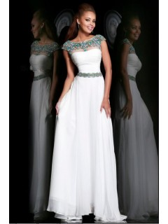 A Line Bateau Neck Cap Sleeve Long White Chiffon Beaded Evening Prom Dress V Back