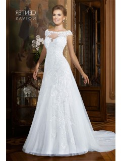 A Line Bateau Neckline Cap Sleeve Organza Lace Beaded Wedding Dress Sheer Back