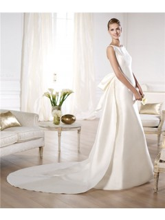 A Line Bateau Neckline Low V Back Satin Wedding Dress With Detachable Train Bow