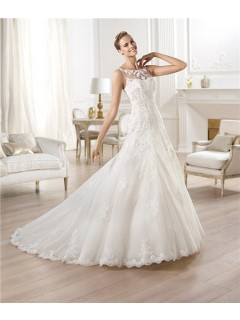 A Line Bateau Neckline See Through Back Tulle Lace Wedding Dress