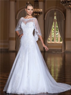 A Line Bateau Neckline Sleeveless Tulle Lace Wedding Dress With Wrap